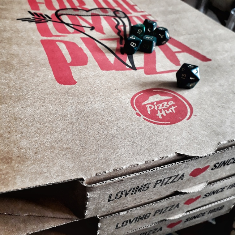 dice and pizza